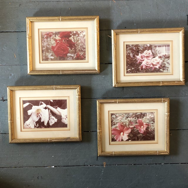 Wood Gallery Wall Collection-4 Vintage Small Flower Photos in Faux Bamboo Frames - Set of 4 For Sale - Image 7 of 7