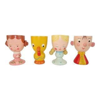 Vintage Whimsical Egg Cups, Set of 4 For Sale