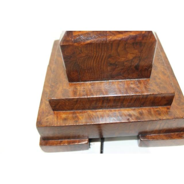 Brown Biedermeier Table Lamp Exotic Wood Assemblage For Sale - Image 8 of 13