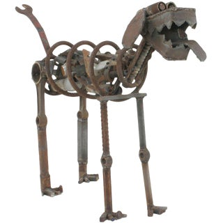 Life Sized Folk Art Welded Steel & Iron Dog Sculpture For Sale