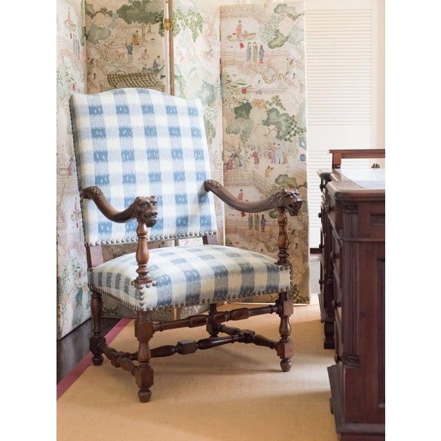 French Walnut French Armchair in Brunschwig Fabric For Sale - Image 3 of 8