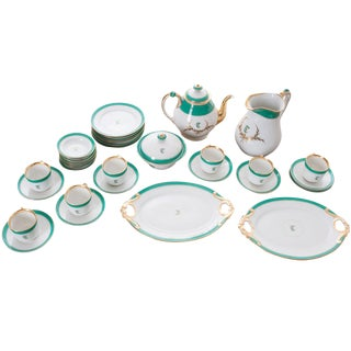 """French 19th Century Old Paris """"T"""" Dessert Service - Set of 33 Pieces For Sale"""