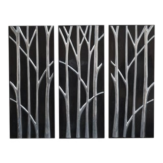 "1990s ""Branches"" Tessellated Stone Stainless Inlay Wall Sculptures - Set of 3 For Sale"