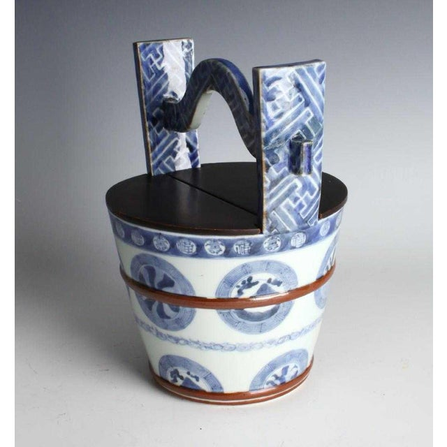 'Teoke' or Water Pail Vessel, in blue and white finest Arita Japanese Porcelain , used for fresh water in the tea ceremony...