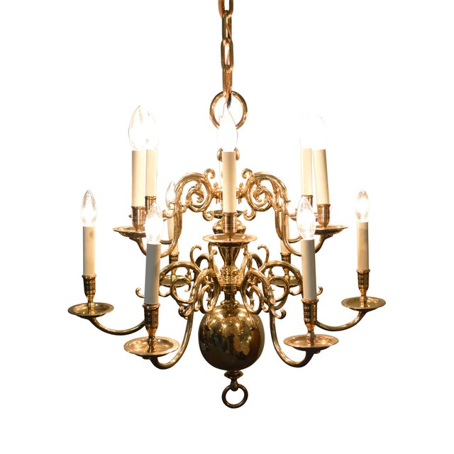 Virginia Metalcrafters 12 Arm Brass Colonial Williamsburg Chandelier Image 11 Of