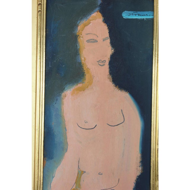 Mid-Century Modern Midcentury Abstract Figure Oil Painting by Sterling Boyd Strauser For Sale - Image 3 of 6