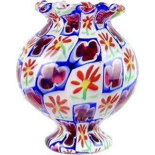 Murano Millefiori Daisy Clover Flower Mosaic Italian Art Glass Cabinet Vase For Sale