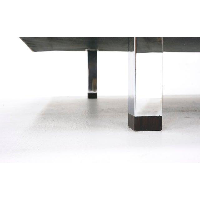Metal Danish Modern Rosewood Case Sofa by Jydsk Møbelværk, Gray Velvet Upholstery For Sale - Image 7 of 8