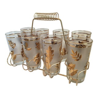 "Mid-Century Hollywood Regency ""Golden Foliage"" 22k Gold Libbey Highball Glasses & Original Caddy - 9 Piece Set For Sale"