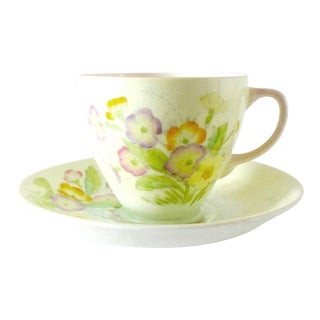 Mid 20th Century Antique Royal China Pale Yellow Bone China Primroses Tea Cup and Saucer For Sale
