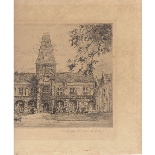 Wallace Hester Etching - Dulwich College c.1910 - Image 3 of 4