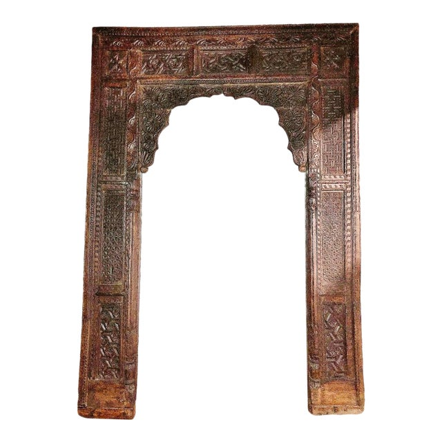 Antique Indian Carved Welcome Gate Teak Arch For Sale