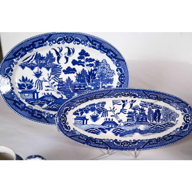 Ceramic Vintage Collection of Blue and White Willow - Set of 40 For Sale - Image 7 of 12