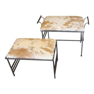 Great Steel Benches With Debrided Hide Seats-A Pair For Sale