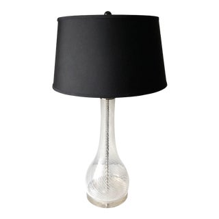 Swirl Glass Lamp-Lucite Base-Black Fabric Shade For Sale