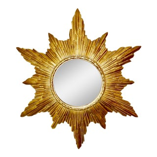 Vintage Gold Resin Frame Sunburst Convex Mirror For Sale