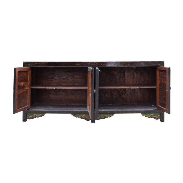 Wood Chinese Distressed Brown Red Doors Long Sideboard Console Table Cabinet For Sale - Image 7 of 9