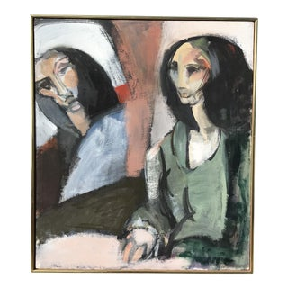 Modern Oil on Canvas Portrait of Two Women