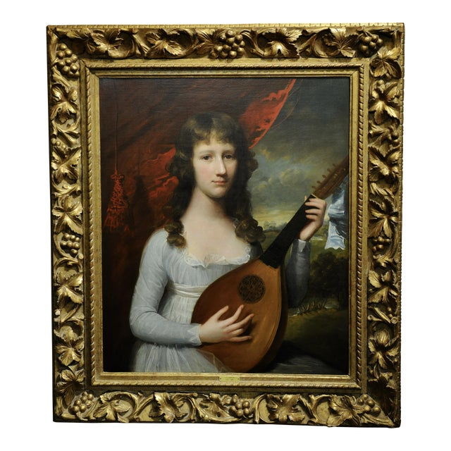 John Singleton Copley -Girl Playing the Lute-18th Century Oil Painting For Sale