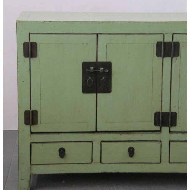 Antique Chinese Light-Green Lacquered Sideboard For Sale - Image 5 of 6