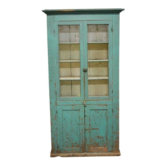 Antique Painted Two Door Country Cupboard For Sale