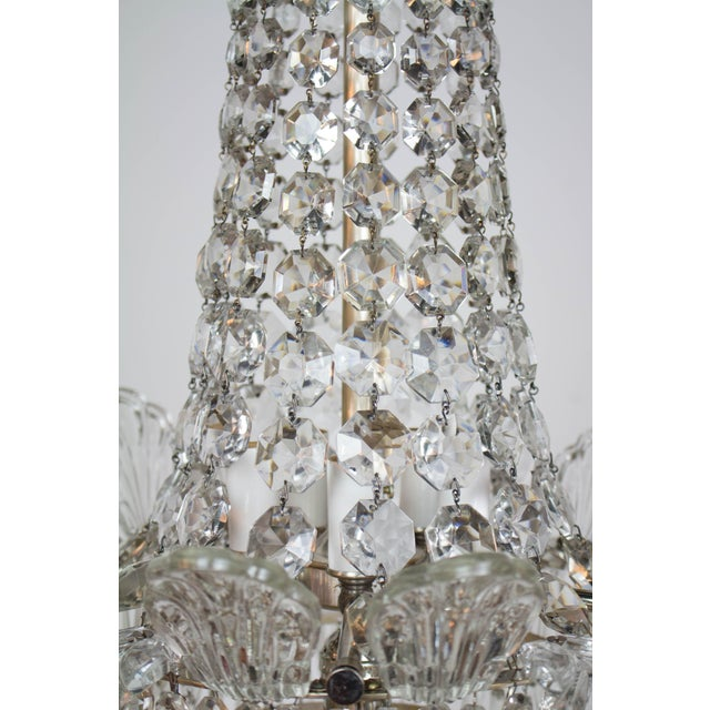 Restored Antique Regency Style Silver and Crystal Chandelier For Sale - Image 4 of 8
