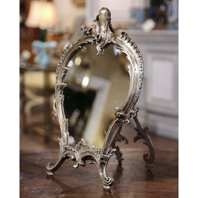 Silver 19th Century French Louis XV Silvered Bronze Free Standing Vanity Table Mirror For Sale - Image 8 of 8