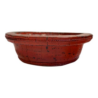 """18"""" Antique Chinese Red Lacquered Wooden Bowl For Sale"""