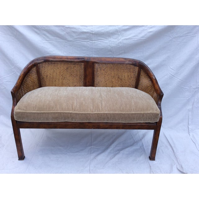 Wood Traditional Mahogany and Cane Settee For Sale - Image 7 of 7
