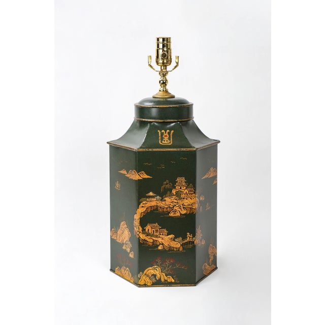 Vintage English Export Hexagonal Tea Caddy Hand-Painted Chinoiserie Landscape Lamp For Sale - Image 9 of 9