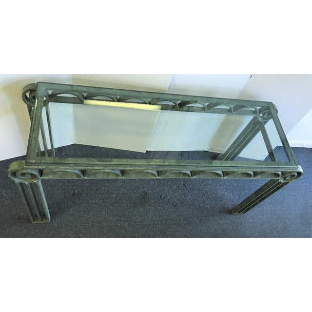 Neoclassical Iron Scroll Console Table in a Verdigris Finish For Sale - Image 4 of 12