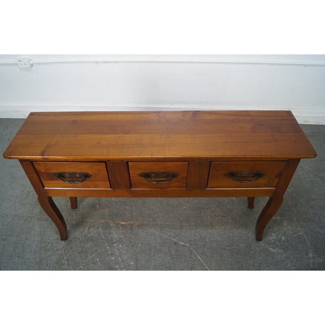 Custom French Country Cherry Wood Console Tables - A Pair - Image 7 of 10
