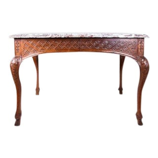 Marble Top Regency Walnut Side Table For Sale