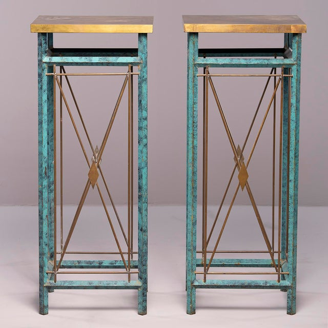 Neoclassical Style Verde Green Metal Statue Stands - a Pair For Sale - Image 4 of 13