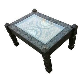 Moroccan Cedar Wood & Marble Top Coffee Table