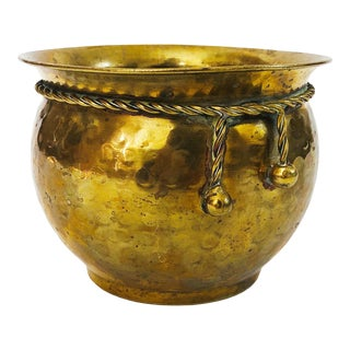 Vintage Brass Planter With Rope Detailing For Sale