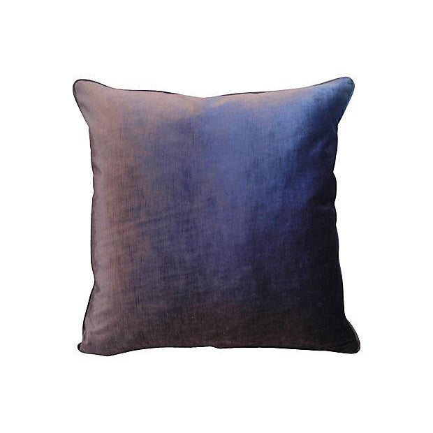Large custom-tailored pillow created from vintage/never used cotton & silk blended velvet fabric by JB Martin Fabrics in a...