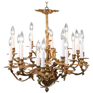 French Louis XIV Foliate Form Eighteen-Light Branch Chandelier, Circa 1910 For Sale