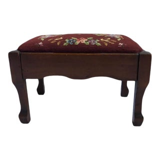 Antique American Empire Needlepoint Footstool For Sale