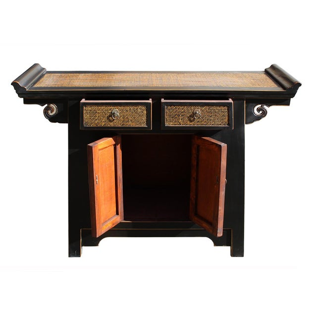 Chinese black rattan altar console cabinet chairish for Asian console cabinet