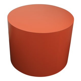 1960s Mid-Century Modern Orange Drum Table For Sale