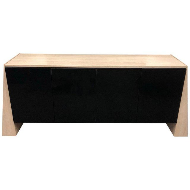 White Italian Travertine and Black Lacquered Credenza For Sale - Image 8 of 8