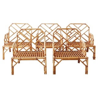 Brown Jordan Chinese Chippendale Rattan Bamboo Lounge Chairs For Sale