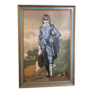"""The Blue Boy"" Contemporary Reimagined Vintage Painting, Framed For Sale"