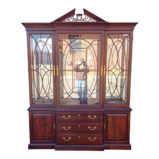 Mahogany Chippendale Style Thomasville Dining Room Breakfront China Cabinet C1990s For Sale