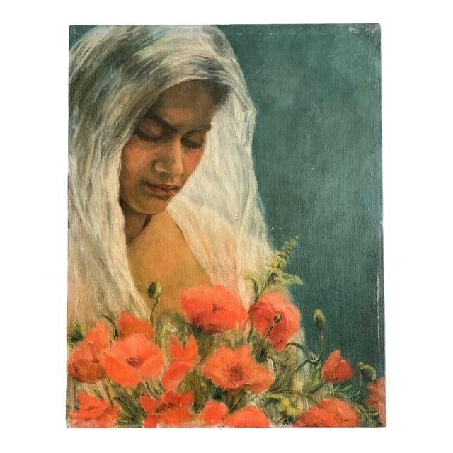 1960s Vintage Oil Portrait Painting For Sale
