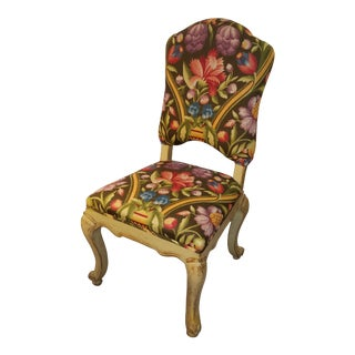1950s Vintage Painted Venetian Side Chair in Clarence House Sansovino Printed Italian Linen For Sale