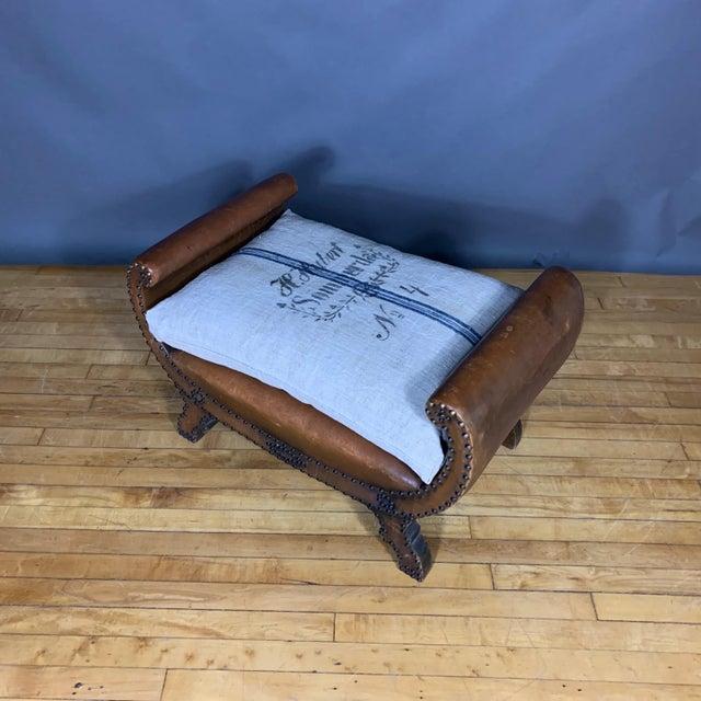 Art Deco 1930s Otto Schulz Leather & Grainsack Footstool, Boet, Sweden For Sale - Image 3 of 11