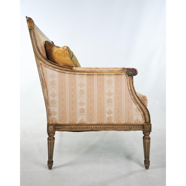 Gold Late 19th C. Louis XVI Style Distressed Settee For Sale - Image 8 of 11