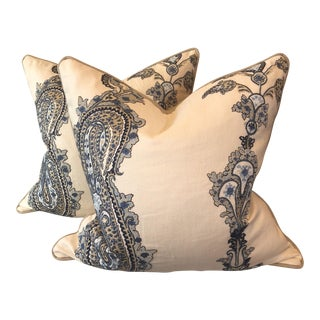 "Lee Jofa ""Khalsa Paisley"" 22"" Pillows - A Pair"